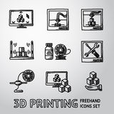 Set of handdrawn 3D Print icons  - printers, pc Royalty Free Stock Photo