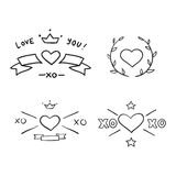 Set of handdrawn design elements Stock Photos