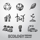 Set of handdrawn ECOLOGY icons  - recycle sign. Set of handdrawn ECOLOGY icons with - recycle sign, green earth, leaf, garbage disposal, wind power station Royalty Free Stock Images