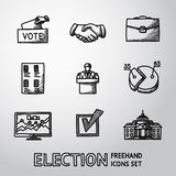 Set of handdrawn ELECTION icons with - vote box. Handshake, portfolio, vote list, speaking man, infographics, check box, white house. vector Royalty Free Stock Photos