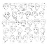 Set of handdrawn girls heads. 33 different hairstyle, smiling faces, with accessories, hats, cat ears, headphones. Black and white Stock Images