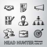 Set of handdrawn Head Hunter icons  - handshake Royalty Free Stock Image