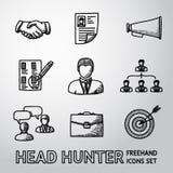 Set of handdrawn Head Hunter icons  - handshake Royalty Free Stock Image