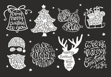 Set of handdrawn lettering for greeting cards. Vector Christmas card Royalty Free Stock Photos