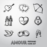 Set of handdrawn Love, Amour icons  - heart with. Set of handdrawn Love, Amour icons with - heart with arrow, two hearts, cupid bow, couple, heart with pulse Royalty Free Stock Photo