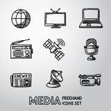 Set of handdrawn media icons - news, radio, tv. Set of handdrawn media icons - news and radio, tv and internet, earth, satellite, camera, microphone. Vector Stock Photography