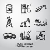 Set of handdrawn oil icons - barrel, gas station Stock Photo
