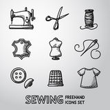Set of handdrawn sewing icons - machine, scissors. Set of handdrawn sewing icons - sewing machine, scissors and thread, leather tag,mannequin, needle, buttons Stock Images