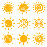 Set of handdrawn sun symbols Stock Images
