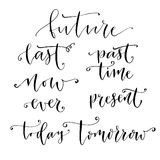 Set of handdrawn vector time calligraphy. Set with modern calligraphic text. Hand lettering about business time Royalty Free Stock Image