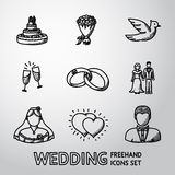 Set of handdrawn wedding icons - cake, flowers Royalty Free Stock Photography