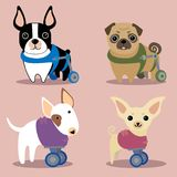 Set of handicapped disabled dogs. Set of handicapped disabled agility dogs with wheels. Vector illustration Stock Photos
