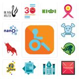 Set of handicapped, placeholder, educational institute, statement, 70 years, rhino, bull, skull and crossbones, nano icons. Set Of 13 simple  icons such as Stock Image