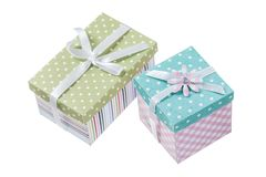 Set of handmade boxed gifts isolated on white.  royalty free stock image