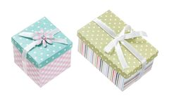 Set of handmade boxed presents isolated on white.  stock photography