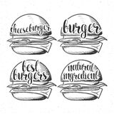 Set handmade burgers with stylish calligraphy. Burger calligraphy in sketch Royalty Free Stock Photos