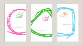 Set of handmade business sample cards with hand drawing textures on white. stock illustration