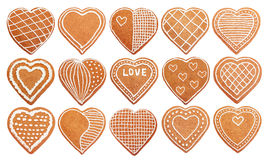 Set of handmade hearts shaped gingerbread cookie Stock Photography