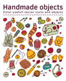 Set of  handmade icons and objects Stock Photo