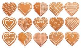 Set handmade serc kształtny piernikowy ciastko Fotografia Stock