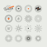 Set of handmade sunburst design elements Stock Photos