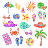 Set of handmade symbols and icons summer  and vacation on the  beach Royalty Free Stock Image