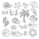 Set of handmade symbols and icons summer  and vacation on the  beach Royalty Free Stock Photography