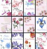 Set of handpainted watercolor flowers Royalty Free Stock Image