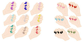 Set of hands with colored nails Stock Photography
