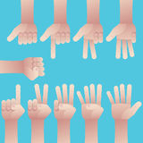 Set of hands counting zero to nine. Set of male hands gesture, counting number from zero to nine on blue background Royalty Free Stock Images