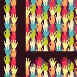 Set of hands in the crowd seamless pattern Stock Image