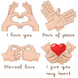 Set of hands depict the enternal love and peace. Stock Photography