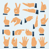 Set hands in different gestures. Collection emotions, signs. Gestures arm: stop, palm, thumbs up, finger pointer ok like many others. Vector illustration flat Royalty Free Stock Photography