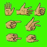 Set of hands in different gestures. Emotions and signs. Isolated on green background. Flat  illustration Royalty Free Stock Image