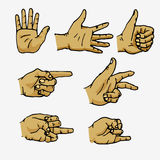 Set of hands in different gestures. Emotions and signs. Isolated on white background. Flat  illustration Stock Photos