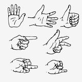Set of hands in different gestures. Emotions and signs. Outline drawing on white background. Flat  illustration Stock Image