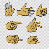 Set of hands in different gestures. Emotions and signs on transparent background. Flat  illustration Stock Photo