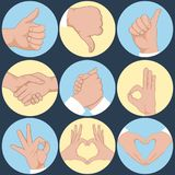 Set of hands in different gestures emotions and signs. Vector illustration Stock Photo