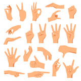 Set Of Hands. In different gestures emotions and signs on white background  vector illustration Royalty Free Stock Photography