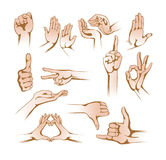 Set of hands in different gestures, signs on white background. Royalty Free Stock Photography