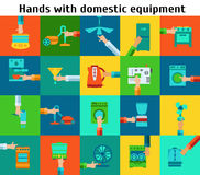 Set of hands with domestic equipment Stock Photography