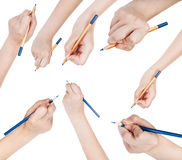 Set of hands draw by blue pencil isolated Stock Photo