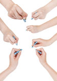 Set of hands draw by dry blue pastel isolated Stock Photo