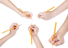 Set of hands draw by lead pencil isolated Royalty Free Stock Photo