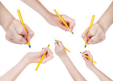 Set of hands draw by simple pen isolated Stock Photography