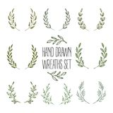 Set of hands drawn decorative wreaths. Vector. Illustration EPS10 Stock Illustration