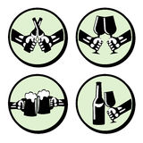 Set hands with drink. Retro styled  icons Stock Image