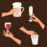 Set of hands with drinks Royalty Free Stock Photo