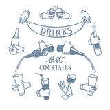 Set of hands with drinks and bottles vector illustration