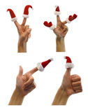 Set of hands with finger hats Royalty Free Stock Images